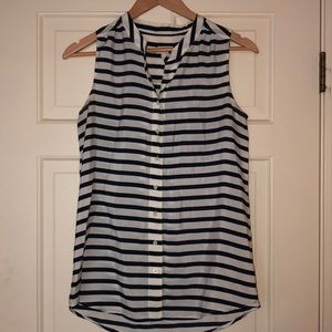 J. Crew navy and white striped blouse